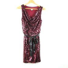 Vintage 90s Cache Sequin Party Dress Tie Waist 4 Burgundy Cocktail Sleeveless