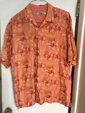 100% Linen Tommy Bahama Hawaiian Orange  Yellow Floral Hibiscus Shirt SZ XL