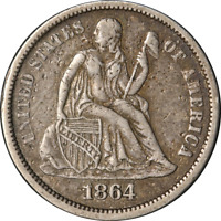 1864-S Seated Liberty Dime Choice VF/XF Key Date Great Eye Appeal Nice Strike
