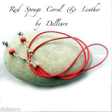 ✫RED CORAL & LEATHER✫ EYEGLASS GLASSES SPECTACLE CHAIN HOLDER  CORD