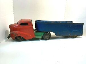 Vintage 1940' - 50's  Wyandotte Construction Co. Truck & Trailer   Pressed Steel