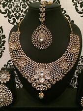 New Indian Bollywood Costume Jewellery Necklace Set Gold White Wedding party