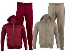 Mens Jogging Suit Set Slim Fit Bottoms Pants Hooded Zip Top Gym Ecru Wine S-XXL
