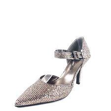 J. Renee Trudi Women's Bronze Sequin Ankle Strap Pumps Heels Size 6 M *