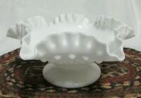 Fenton White Milk Glass Hobnail Ruffled Double Crimped Rim Candle Holder Bowl
