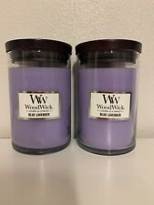 WoodWick Candle Blue Lavender Scented Lot Of 2 10.8 oz ea