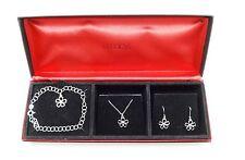 MACY'S Silvertone Three Piece Flower Pendant Jewelry Set