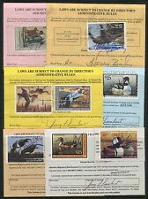 """#RW50 // #RW68 (6) DIFF DUCK STAMPS ON HUNTING PERMITS """"STATE OF INDIANA"""" BT7943"""