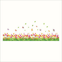 Removable Wall Stickers Tulip Flowers Butterflies Home DIY Decal Mural Decor Art
