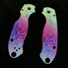Spyderco Para 3 Scales ~ CNC Milled Titanium Flomascus Pattern D-fade scales