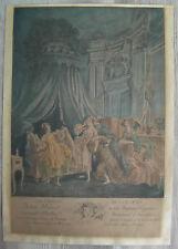 """Gravure aquarellée XVIIIème """"le coucher de la mariée"""" engraving etching stampa"""