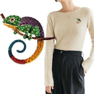 Lizard Chameleon Brooch Animal Coat Pin Rhinestone Fashion Jewelry Ornament GiFY