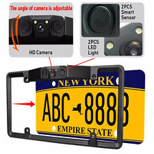 3In1 Car License Plate Frame Parking Sensor Radar +Rearview Backup Camera+2LED