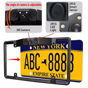 3In1 Car License Plate Frame Parking Sensor Radar +Rearview Backup Camera+2LED