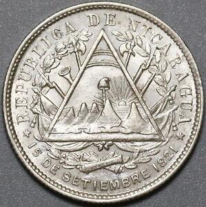 1887-H Nicaragua 20 Centavos UNC Silver Heaton Mint Coin (21041707R)