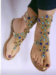 Handmade Gold / Turquoise Rhinestone Strass Sandals Size 38 (US 8) Gold Bling