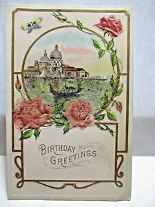 1910 POSTCARD BIRTHDAY GREETINGS, BOAT ON BEADED RIVER