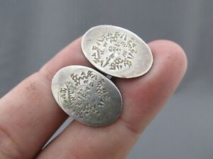 VINTAGE TAXCO STERLING ETCHED OVAL MENS CUFFLINKS