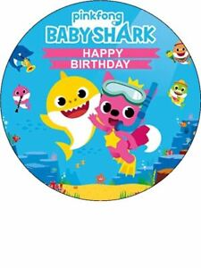 BABY SHARK edible cake/cupcake toppers  -Icing or Wafer Paper