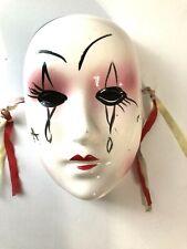 Ceramic Wall Hanging Art Mime Mardi Gras Masquerade