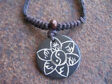 Lotus Halskette Herrenkette Damenkette Yin Yang Holz schwarz braun Kette Surfer