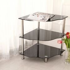 3 Tier Corner Side Table Black Glass Storage Shelf Stand Display Unit Chrome Leg