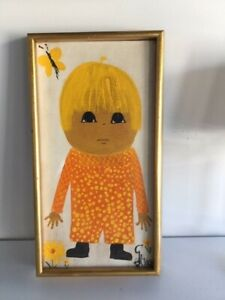 Charming Original Painting of Child with Blond Hair & Big Dark Eyes by GRACE