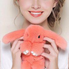 Bunny Rex Rabbit Fur Phone Car Pendant Handbag Girl Key Chain Ring Pom Orange