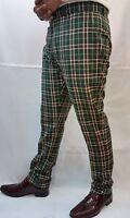 New 'Run & Fly' Men's Mod,60's,Vintage Slim Classic Green Tartan Trouser-Golfing