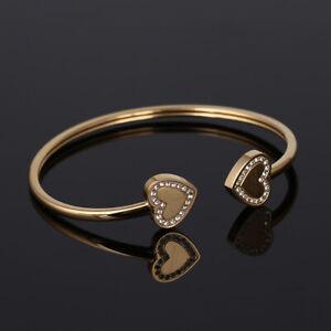 Michael Kors Crystal Heart End Gold Cuff Bangle Bracelet