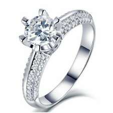 2Ct Round Cut White Moissanite Engagement Ring VVS1 Certified S925 IP White Gold