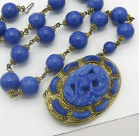 Vtg 1930's Art Deco Signed Czech Molded Lapis Glass Pendant Necklace