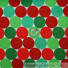 BonEful Fabric Cotton Quilt White Red Green Large Big Polka Dot Holiday US SCRAP