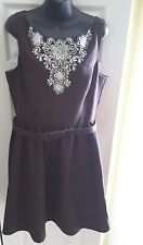 Jessica Howard women's sundress brown casual belted with flare skirt size 16