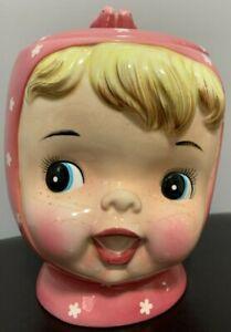 Vintage Miss Cutie Pie NAPCO Japan Pink Cookie Jar with Lid