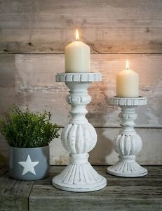 White Washed Wooden Candlestick Retreat Home Shabby Chic