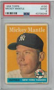 1958 Topps #150 Mickey Mantle PSA 2 New York Yankees CD26