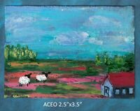 Original ACEO - Farmhouse Sheep - Abstract - miniature acrylic painting