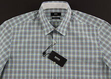 Men's HUGO BOSS White Green Blue Plaid Short Sleeve S/S Shirt Large L NWT NEW