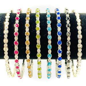 Indian Bangles Bollywood Hollywood Crystal Bracelets Rhinestone Bangle x 2