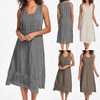 Women Casual O-Neck Sleeveless Solid Patchwork Hem Irregular Trendy Linen Dress