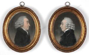 "Johan Anspach ""Brothers de Vos"", two published pastel miniatures!!, 1780s"
