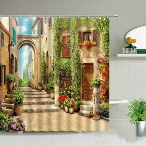 Italian Style Shower Curtains - 3D Garden Outdoor Fence Bath Mat Set
