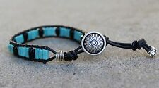 Men's Turquoise  and Black Onyx Beaded Bracelet Black Leather Wrap Bracelet USA