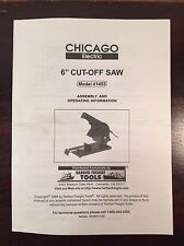 """Chicago Electric 6"""" Cut Off Saw 41453 Assembly Operating Manual Instructions"""