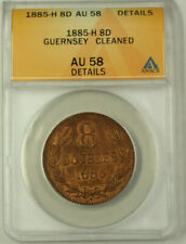 1885-H Guernsey Bronze 8 Doubles Coin ANACS AU 58 Details Cleaned