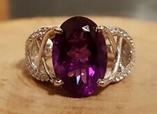 Lusaka Amethyst Ring (Size N) in Platinum Overlay Sterling Silver