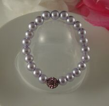 GLASS PEARL WITH LILAC/ PURPLE/ PINK OR RED CLAY SHAMBALLA CRYSTAL BRACELET
