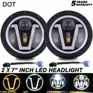 "7"" INCH Round LED Headlights Halo Projector Black For 1990-1997 Mazda Miata MX5"