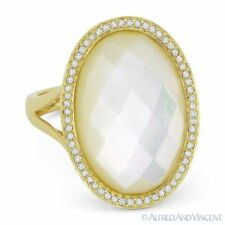 Checkerboard Mother-of-Pearl & 0.20 ct Diamond Cocktail Ring in 14k Yellow Gold